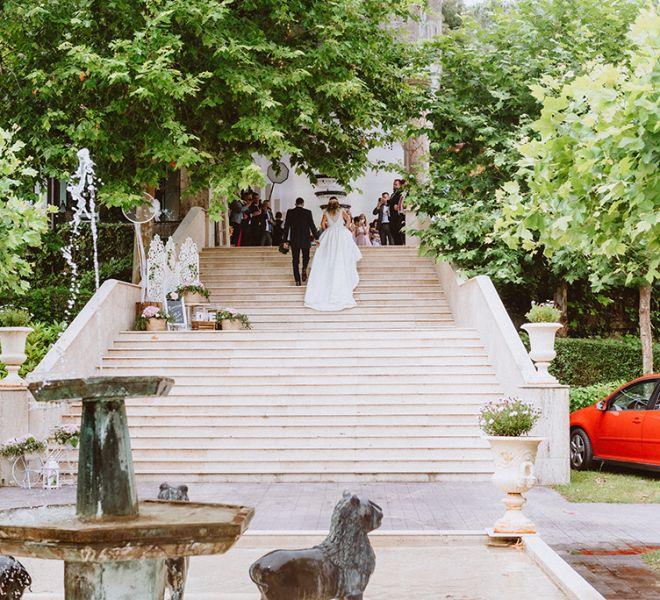 llegada-de-los-novios-al-banquete-de-bodas-pazo-santiago